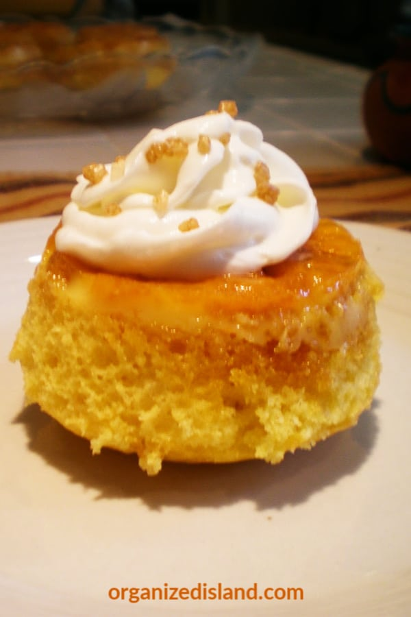 flan cupcakes with whipped cream