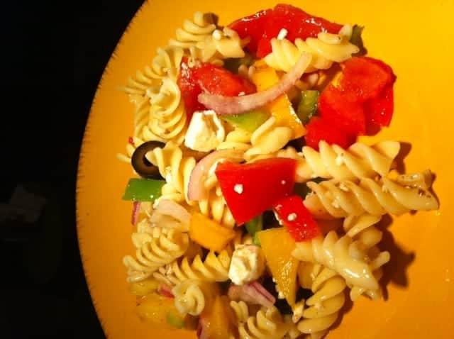 pasta salad plated