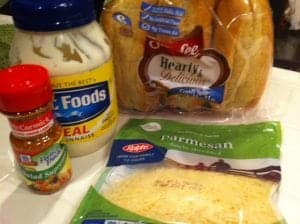 Ingredients garlic bread