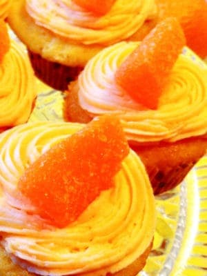 Cupcakes with orange buttercream frosting
