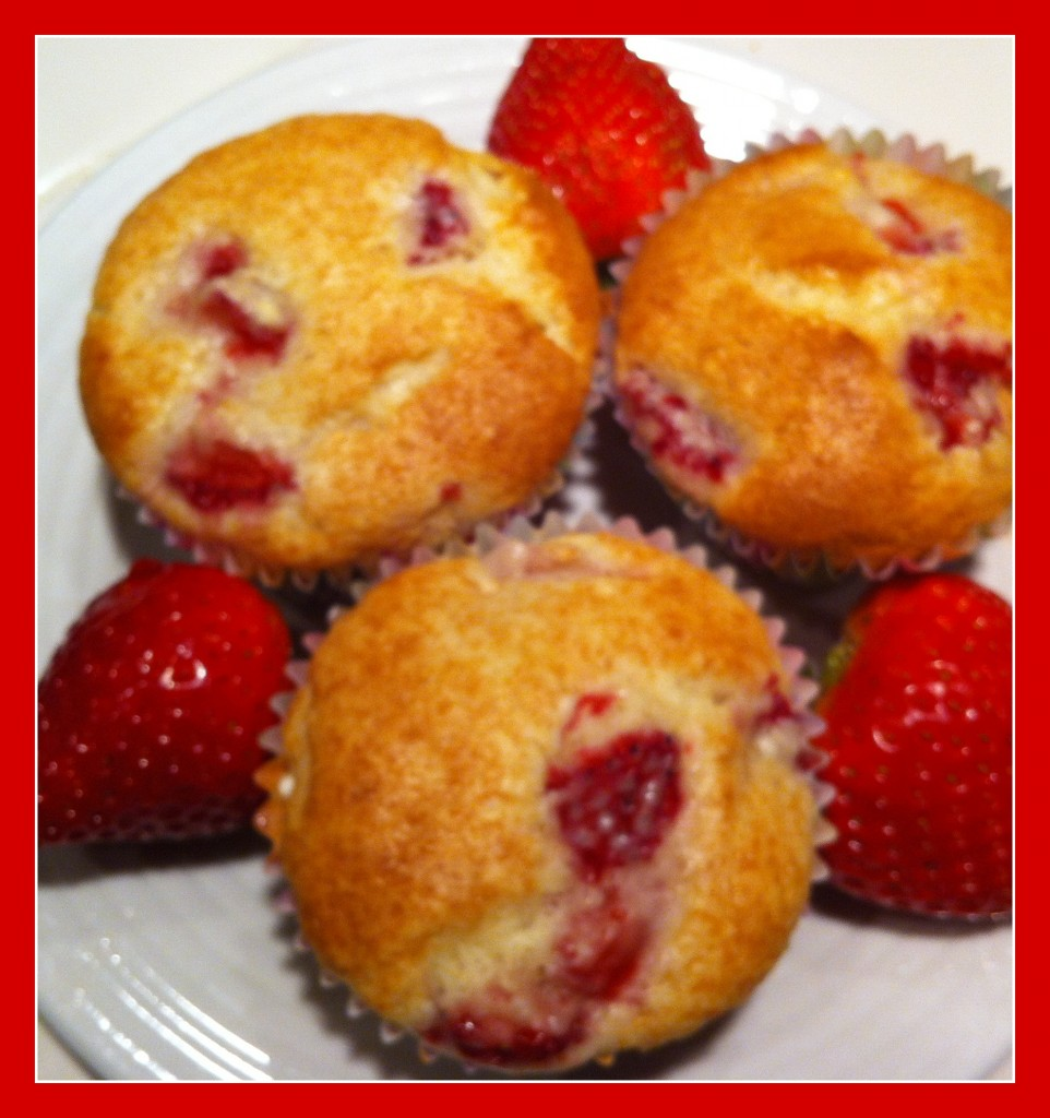 Strawberry Muffins for California Strawberry Day - Organized Island