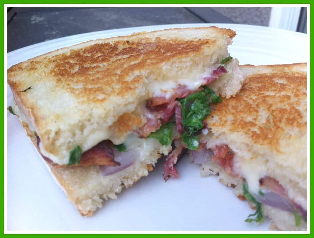 Grilled Fontina Cheese Sandwich with Bacon & Arugula