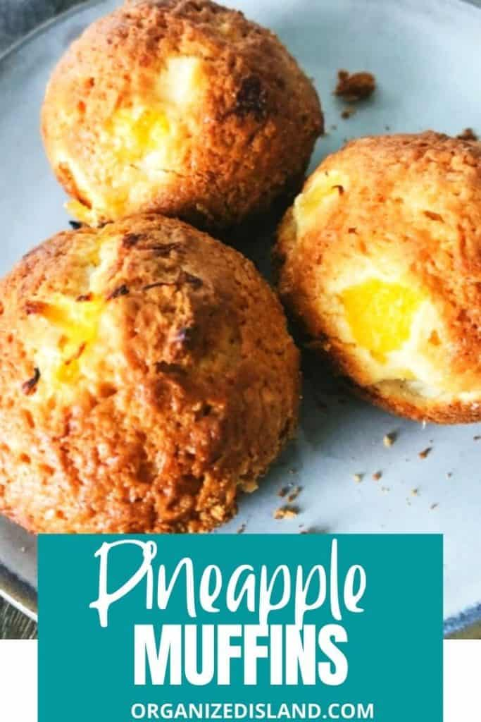 Pineapple Muffins with pineapple pieces.