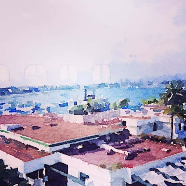 Bahia Hotel captured with Waterlogue App