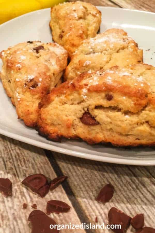 Banana scones with chocolate chips