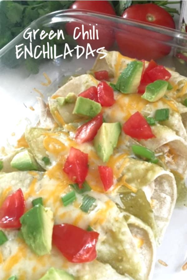 Chicken Enchiladas made with Green Salsa