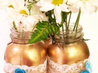 DIY hanging mason jars for wedding