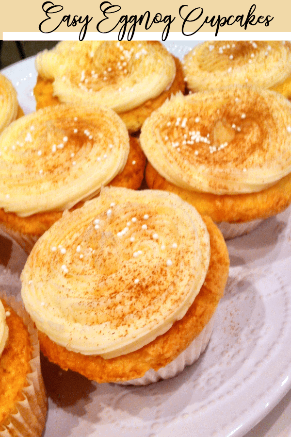 Eggnog cupcakes with cinnamon and nutmet