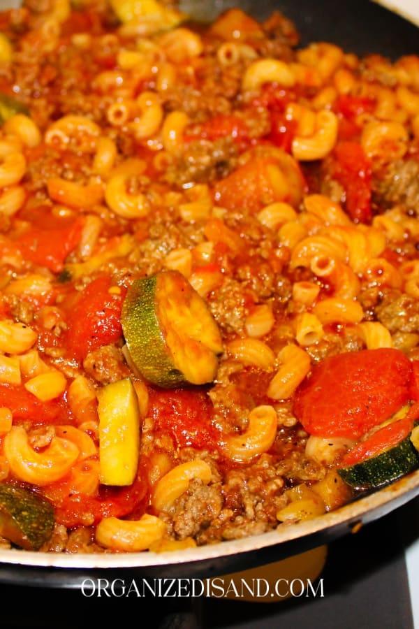 One pot beef pasta