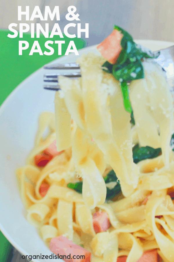 ham pasta spinach