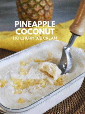 Pineapple and coconut ice cream