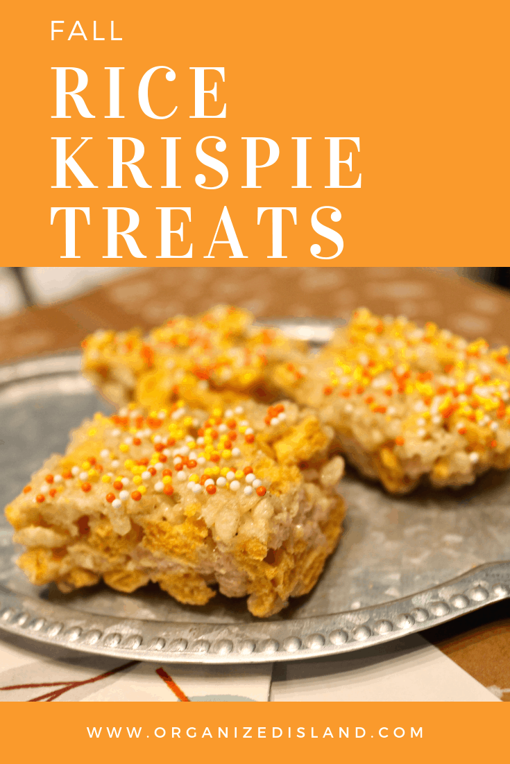 Fall rice crispie treats with captain crunch