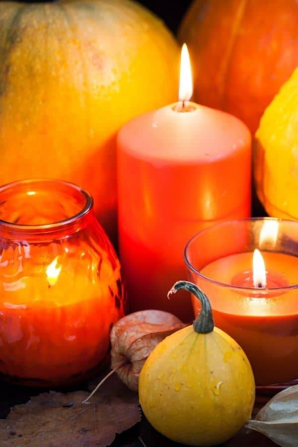 candles with pumpkins