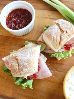 Onion Aioli Ham Sliders with Cranberry Relish