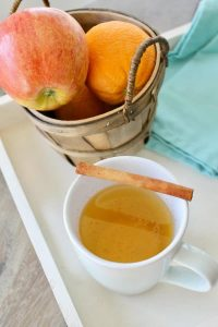 hot apple cider with cinnamon