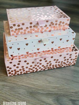 pink storage boxes