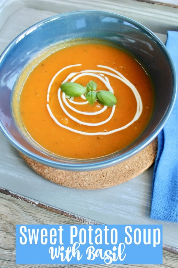 Sweet potato soup with basil and ginger
