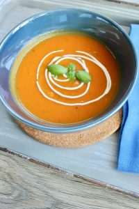 sweet potato soup with ginger and basil