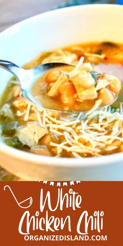 White Chicken Chili Recipe EasyThis Easy White Chicken Chili is a nice dinner option to warm up with this season. Made on the stove top with chicken, beans and green chili - so good! #chili