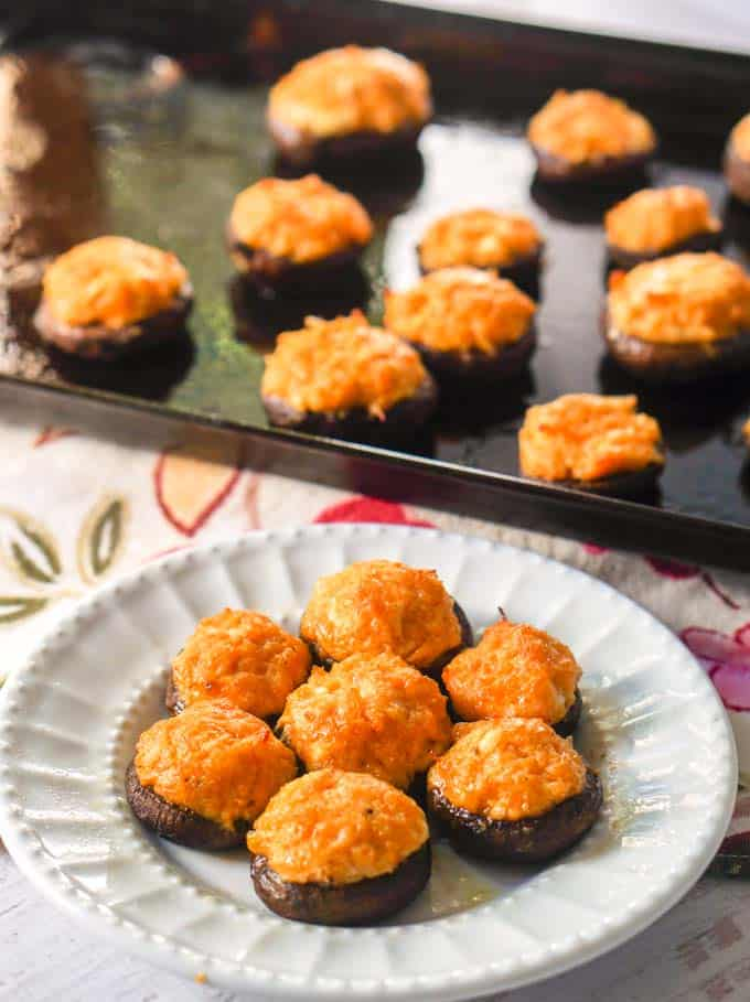 Buffalo Chicken Low Carb Stuffed Mushrooms (Keto) | 15 of the Best Game Day Chicken Recipes You'll Ever Make | Organized Island