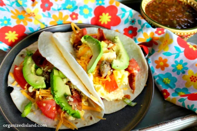 egg tacos with bacon and cheese and avocado