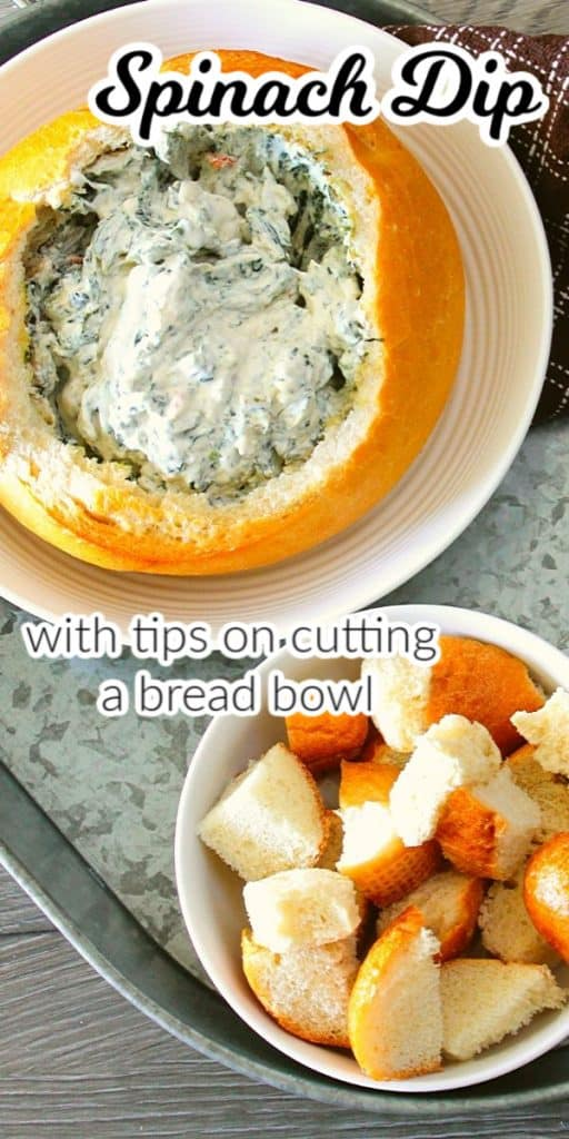 Spinach dip in bread bow