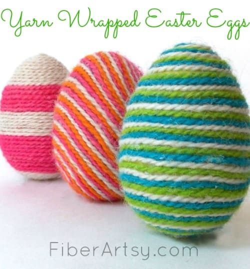 Yarn wrapped eggsEaster Egg decorating ideas