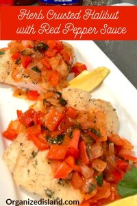 Baked Fish with Red Pepper sauce made with Clamato