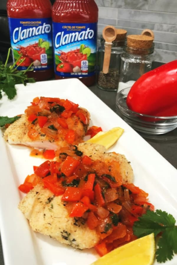 Herb crusted halibut red pepper sauce