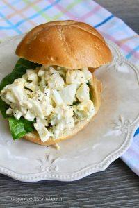 classic egg salad sandwich on bun