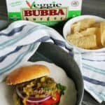 Grean chili topped vegetable burger