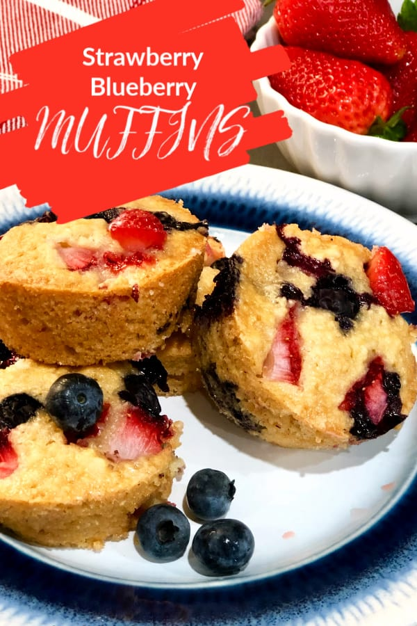 Blueberry and strawberry red white and blue muffins