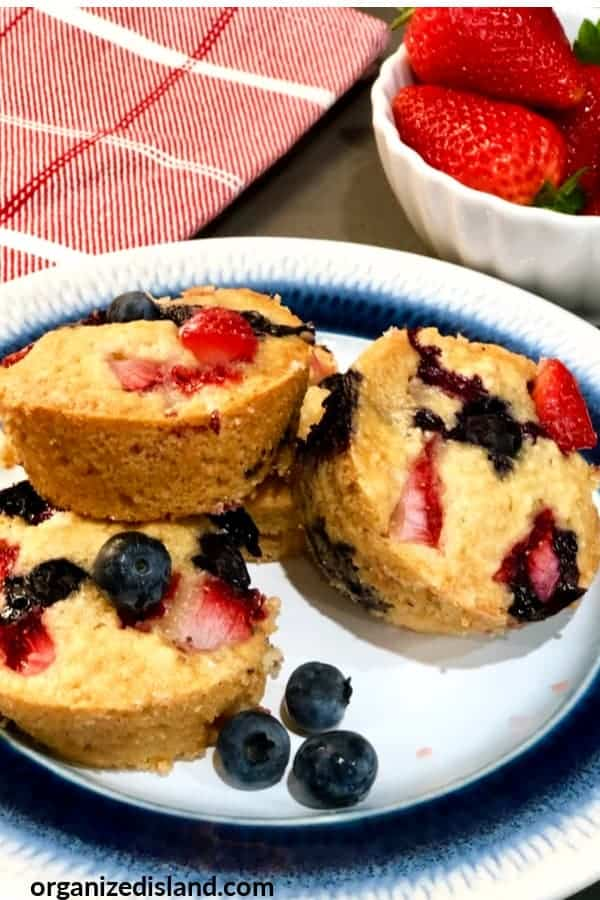 Blueberry and strawberry muffins from Organized Island