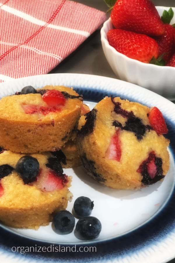 Strawberry blueberry muffins recipe from Organized Island