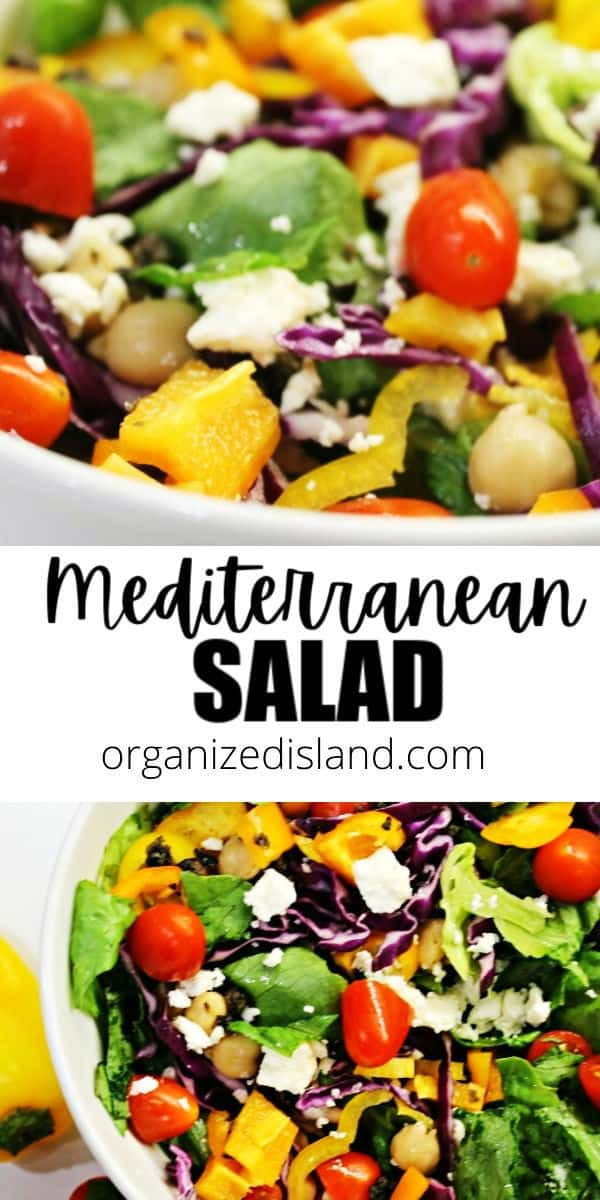 An easy Mediterranean Salad made with peppers, cabbage, cherry tomatoes, and Feta cheese. Perfect as a main entree or side dish.