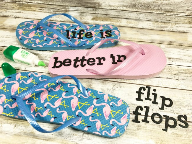 Example of how to add letters to flip flops