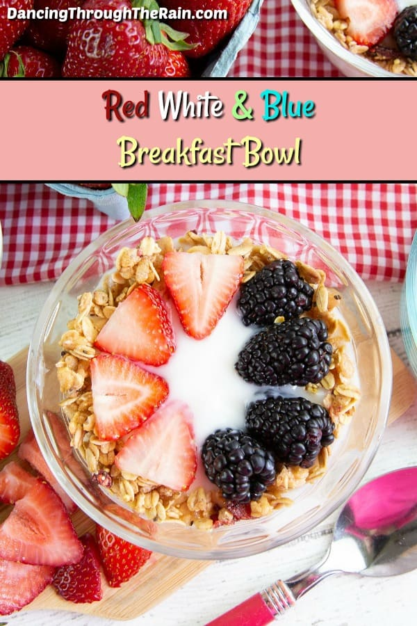 30+ Amazing Brunch Recipes with Fresh Fruit - Red White and Blue Breakfast Bowl