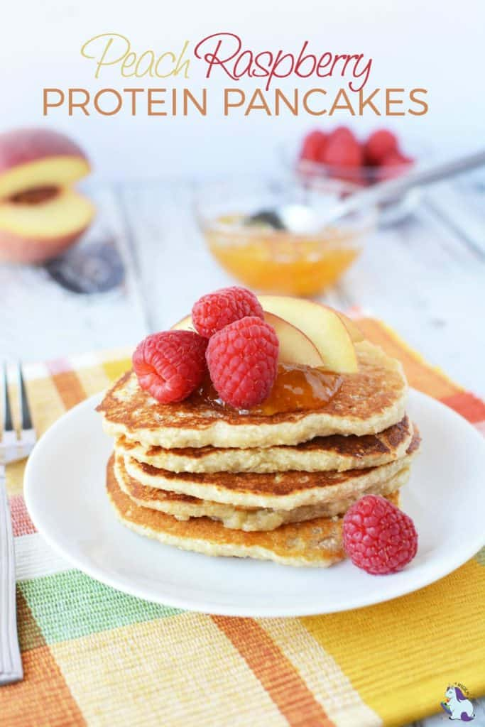 30+ Amazing Brunch Recipes with Fresh Fruit - Peach Raspberry Protein Pancakes