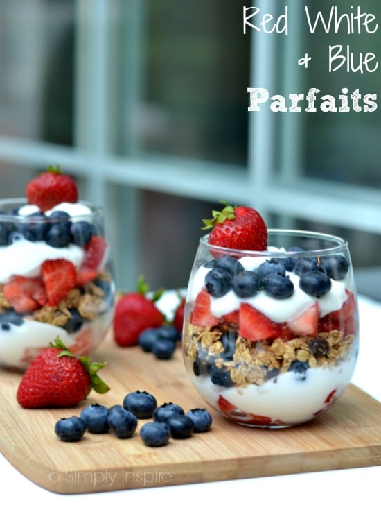 30+ Amazing Brunch Recipes with Fresh Fruit - Red White and Blue Parfaits