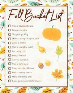 Fall Bucket List Printable
