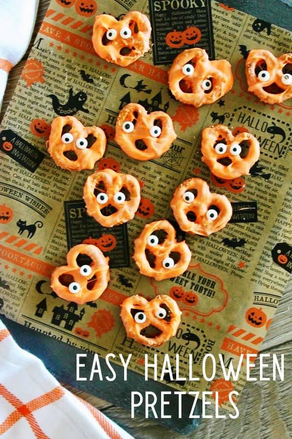 Easy Halloween candied pretzels