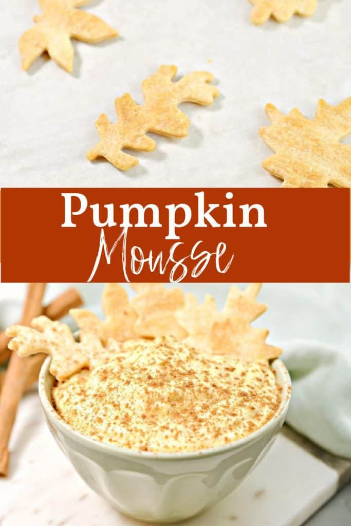 Easy Pumpkin Mousse in bowl with cookie leaves