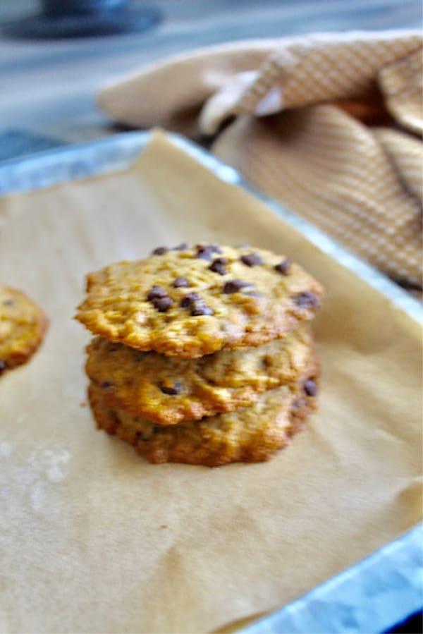 Best Pumpkin Chocolate Chip Cookies on baking sheet