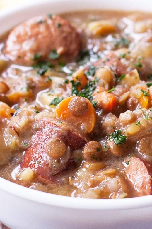 Instant Pot Lentil Sausage Soup