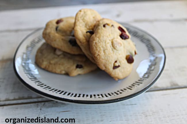 Cranberry cookies with white chocolate chips