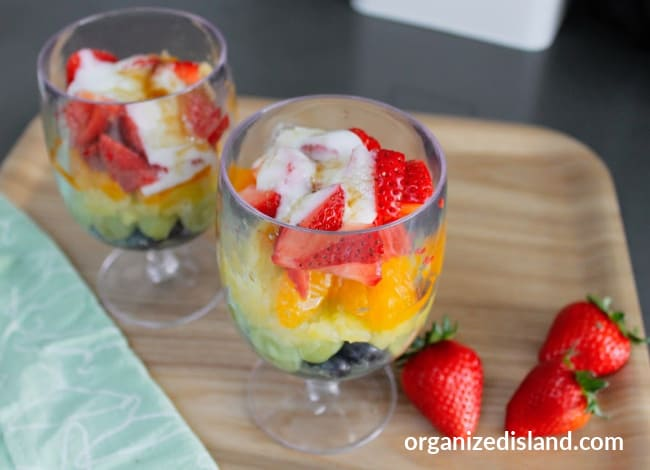 Rainbow Fruit salad parfait