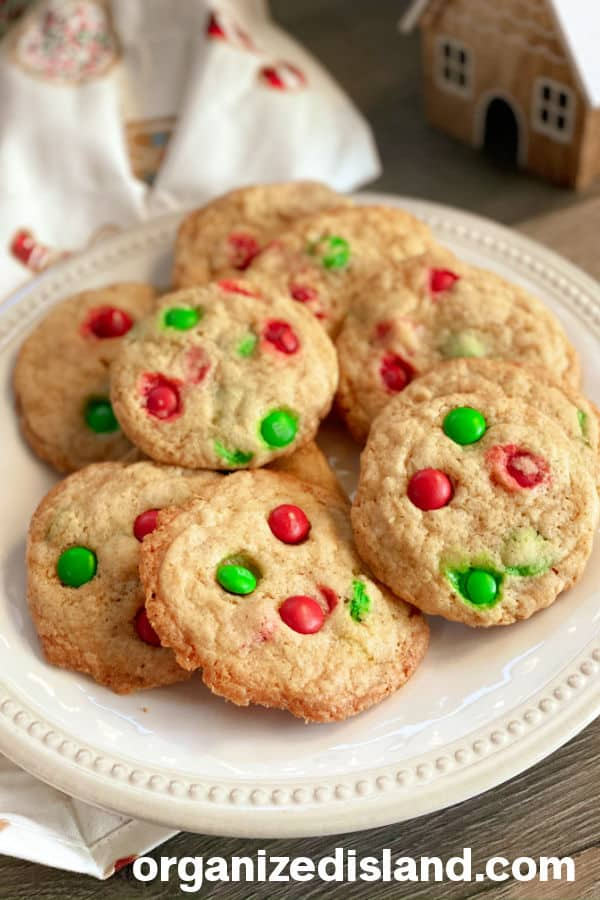 Chocolate Chip M&M cookies for Christmas