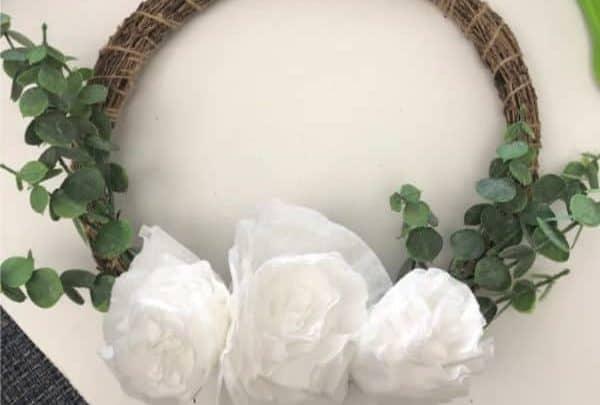 Coffee Filter Craft flower wreath
