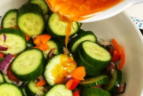 Making Asian Cucumber Salad