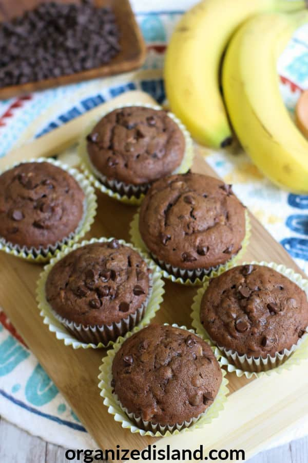 Double Chocolate Chip Banana Muffins Recip